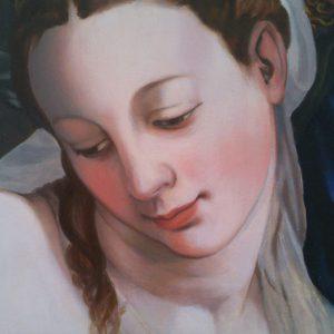Agnolo Bronzino: Krisztus a pokol tornácán (részlet) (másolat, olaj, fatábla, 17,5 x 24,5 cm)