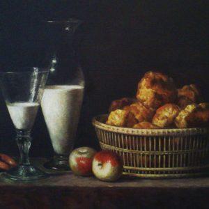 Henri-Horace Roland De La Porte: Csendélet üvegkancsóval (másolat, olaj, vászon, 40 x 30 cm)