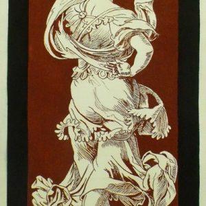 Székely Bertalan: A művészet allegóriája (másolat, sgraffito, 170 x 90 cm) Szokán Erikával közös munka