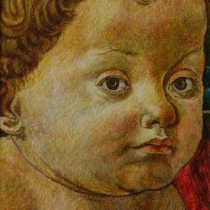 Francesco di Stefano Pesellino: Mária gyermekével (részlet) (másolat, akvarell, papír