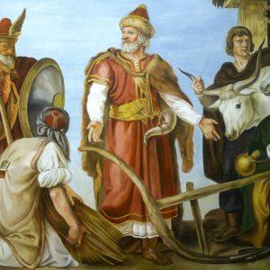 Than Mór: Géza fejedelem mezőgazdaságot oktat  (másolat, tiszta freskó, 220 x 160 cm) Orbán Edinával és Szokán Erikával közös munka.