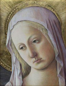 Fra Filippo Lippi: Szűzanya (részlet) (másolat, tojástempera, aranyozás, fatábla)