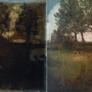 Ismeretlen festő: Tájkép parasztházzal restaurálás előtt és után