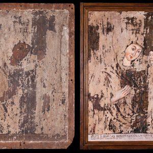 Máramarosi(?) ikonfestő: Útmutató Istenszülő (a kolozsvári könnyező ikon(?) másolata) (1782) restaurálás előtt és után (Orbán Edinával és Szokán Erikával közös munka)