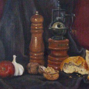 Csendélet kávédarálóval (olaj, vászon farostra kasírozva, 30 x 42 cm)
