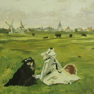Édouard Manet: Fecskék (másolat, vízüvegtechnika, fatábla)