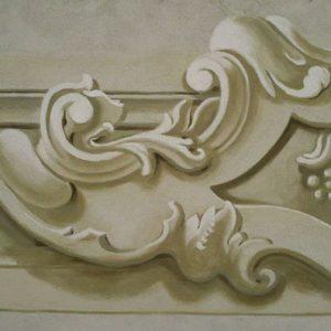 Ornamentika-részlet a győri Loyolai Szent Ignác bencés templomból (másolat, mészfreskó)