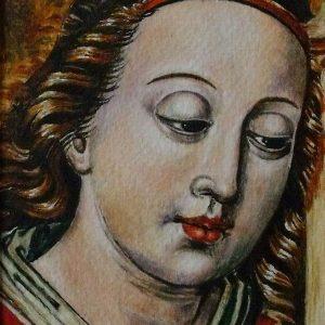 A Csegöldi Be Mester: Zenélő angyal orgonával (részlet) (másolat, akvarell, papír)
