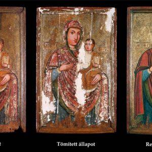 Ismeretlen ikonfestő: Útmutató Istenszülő Kántorjánosiból (18. század első fele) restaurálás előtt és után