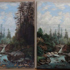 J. K.: Tájkép vízeséssel (1894) restaurálás előtt és után