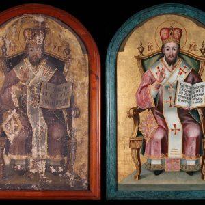 Spalinszky Mihály: Krisztus-Főpap (1783) restaurálás előtt és után