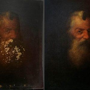 Ismeretlen festő: Férfi portré restaurálás előtt és után