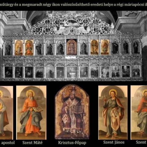 A restaurált műtárgy és a megmaradt négy ikon valószínűsíthető eredeti helye a régi máriapócsi ikonosztázban